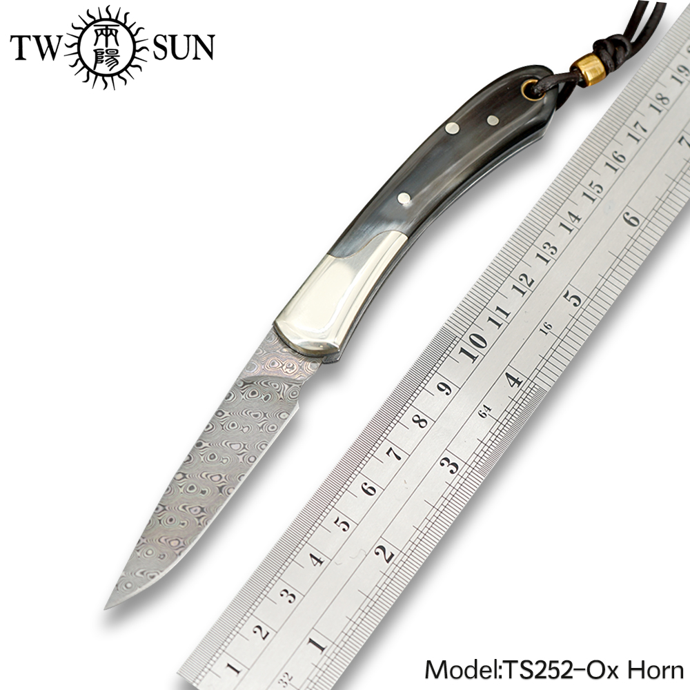 TWOSUN Knives Damascus blade SLIP JOINT Knife folding Pocket Knife camping hunting knives outdoor tool EDC Ox Horn TS252