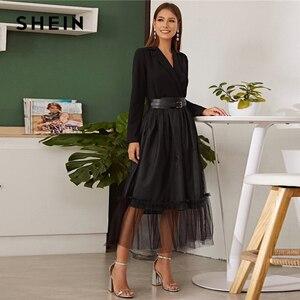 Image 4 - SHEIN Black Notch Collar Without Belt Mesh Overlay Wrap Dress Women Autumn A Line Long Sleeve High Waist Glamorous Long Dresses