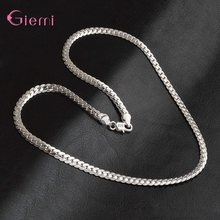 Women Men's Jewelry 925 Sterling Silver Necklace Pendant Hot Sale Fashion Silver Chain Terms Collar Full Side Necklace 5mm(China)