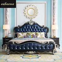 Американская легкая роскошная двуспальная кровать ins стиль Европейская твердая древесина натуральная кожа кровать французская Свадебная ...