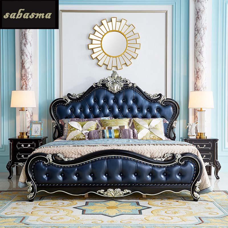 Lit double européen 1.8m lit de mariage luxe ébène sculpté lit en cuir américain maître chambre lumière luxe grand lit
