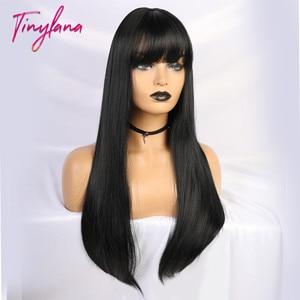 Image 5 - Pequeña Peluca de LANA negra larga y recta con flequillo, pelucas sintéticas para mujeres negras, peluca de disfraz de fibra resistente al calor para Cosplay