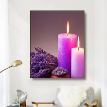 Canvas Art Painting SPA Bamboo Stacked stones Bath salt Candle Bath picture Wall Decor Home Decoration For Living room Bathroom