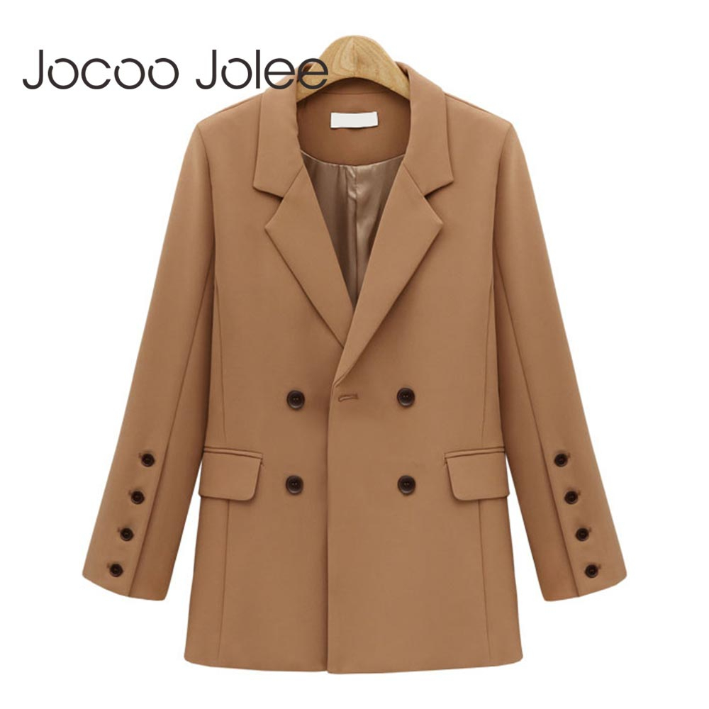 Jocoo Jolee Women Autumn Blazers And Jackets England Long Sleeve Double Breasted Office Suits Female Casual Outwear Tops 2019
