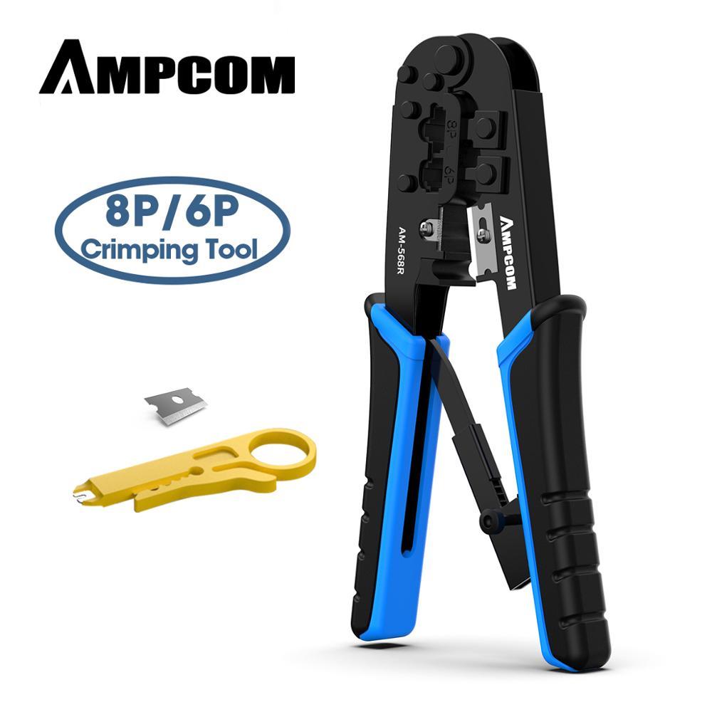 AMPCOM Rj45 Crimper RJ11 RJ45 Crimping Tool Ethernet Network LAN Cable Crimper Cutter Stripper Plier For 6P 8P RJ-11/RJ-12 RJ-45