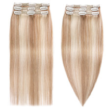 MRSHAIR dentelle trame Sewin pince dans les Extensions de cheveux 100% cheveux humains 3 pièces 9 Clips mettre en évidence Blonde #60 #27 Machine Remy cheveux pièces