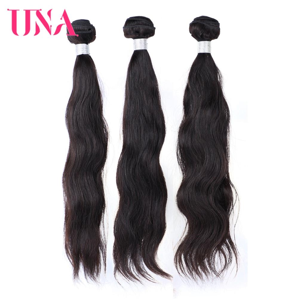 Una cabelo indiano tecer 3 pacotes negócio onda natural remy trama do cabelo natural feixes de cabelo humano 8-26 polegadas