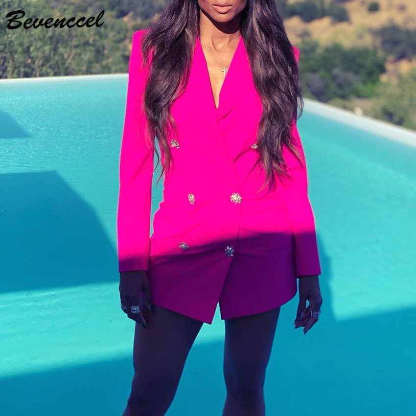 Bevenccel Women Jacket 2019 New Sexy Long Sleeve Notched Double Breasted Bodycon Women Blazers And Jackets Elegant Women Blazers