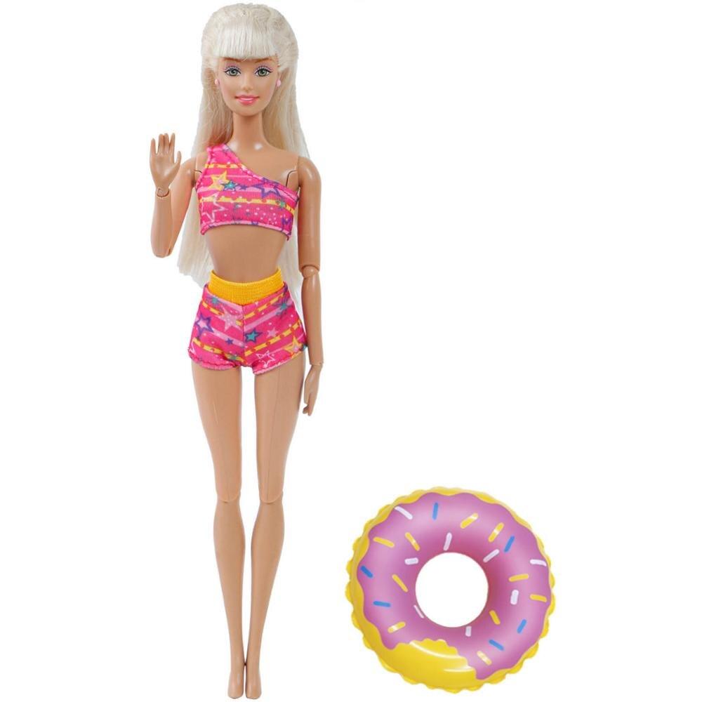 2 Items = 1x Fashion Summer Swimsuit Beach Party Sexy Bikini +Random 1x Swim Ring Clothes For Barbie Doll Accessories 12''