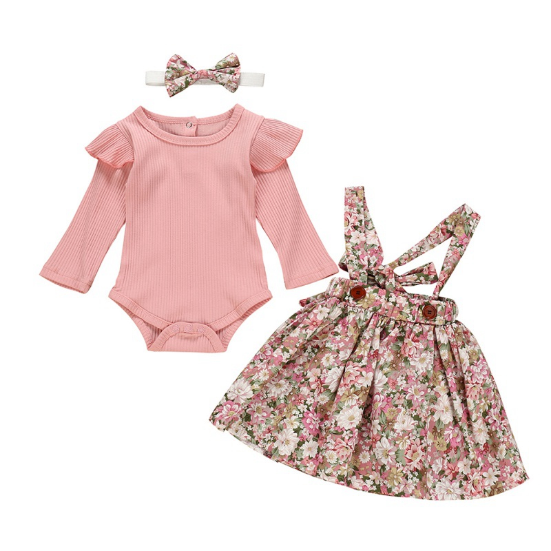 New 3Pcs Autumn Baby Girl Clothes Long Flare Sleeve Romper Tops Floral Strap Skirt Headband Kids Clothes Set 0-24M