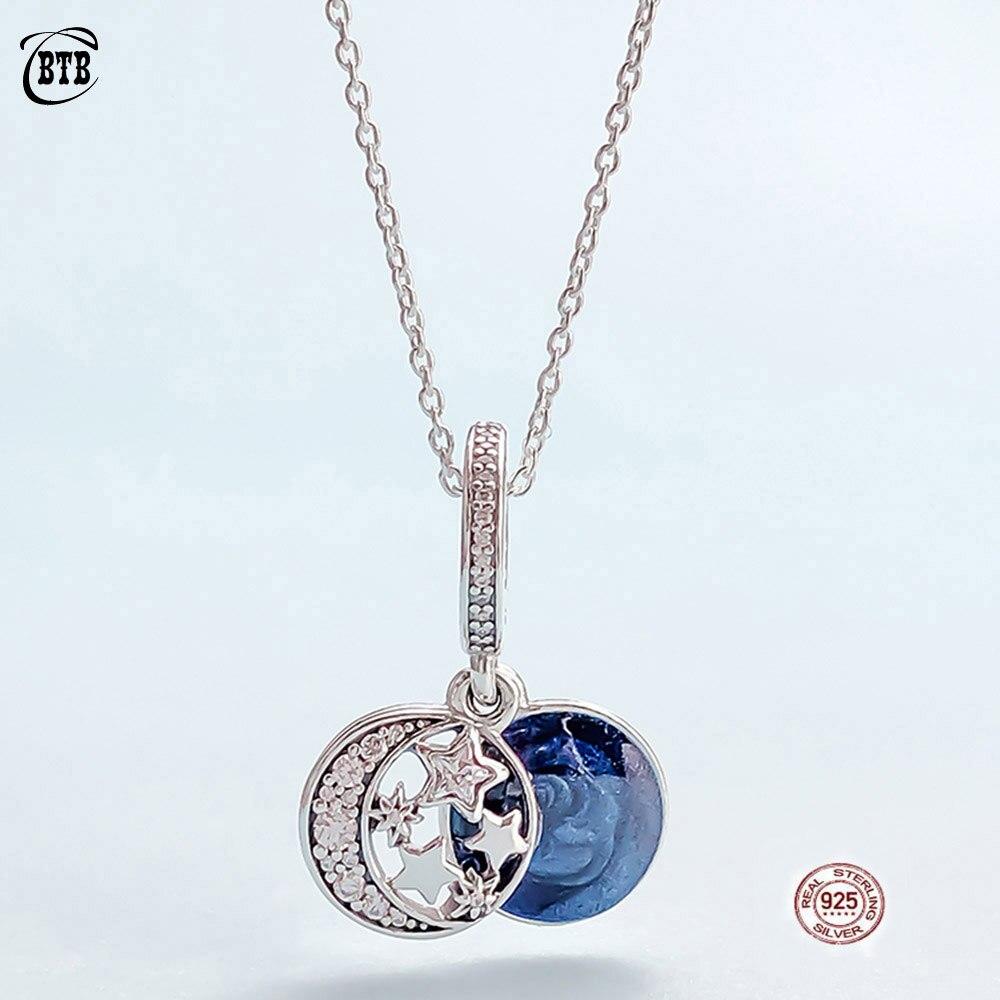 Original PAN 925 en argent Sterling brillant étoile pendentif collier femmes cristal étoile clavicule chaîne mode bijoux petite amie cadeaux