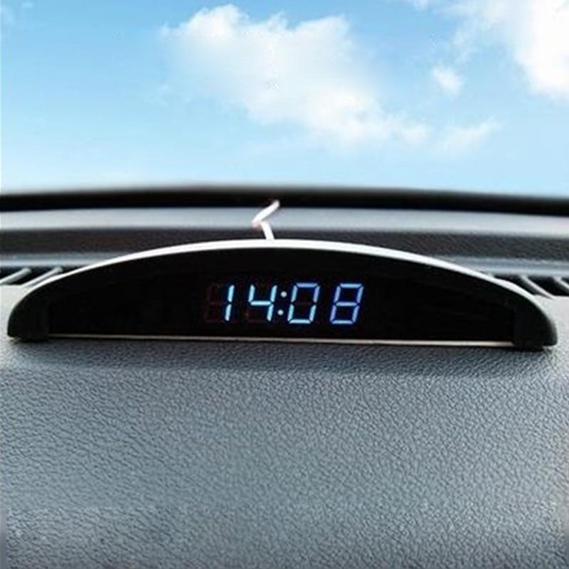 Thermomètre de voiture numérique LED lumineuse montre d'horloge numérique pour voltmètre de voiture 12V mini horloge numérique affichage de l'heure horloge automobile