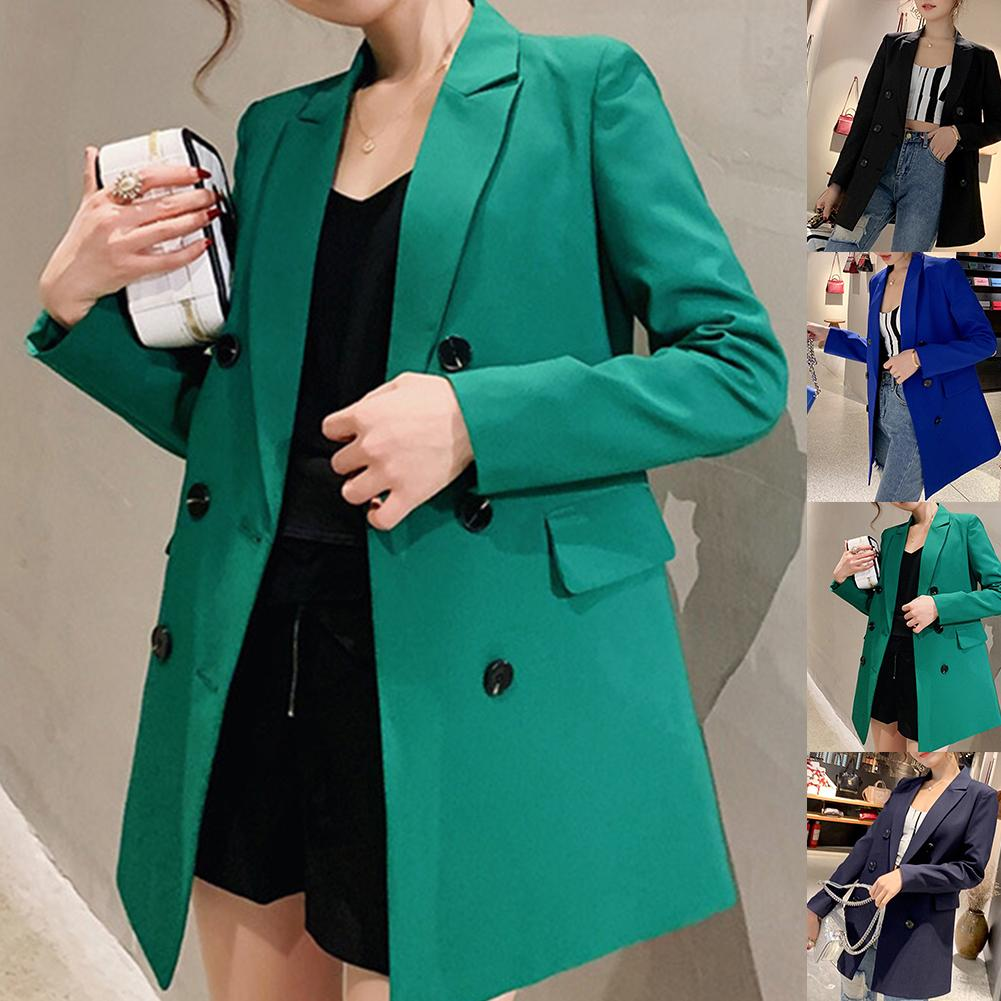 Vintage Office Lady Solid Color Long Sleeve Double-breasted Lapel Collar Blazer Jacket Suit Coat Jacket Women Blazers Female