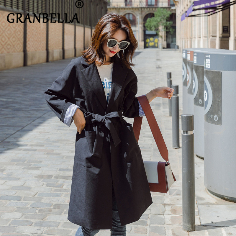 Women 2019 new fashion long   trench   coat solid color loose windbreaker plus size belt elegant female coats