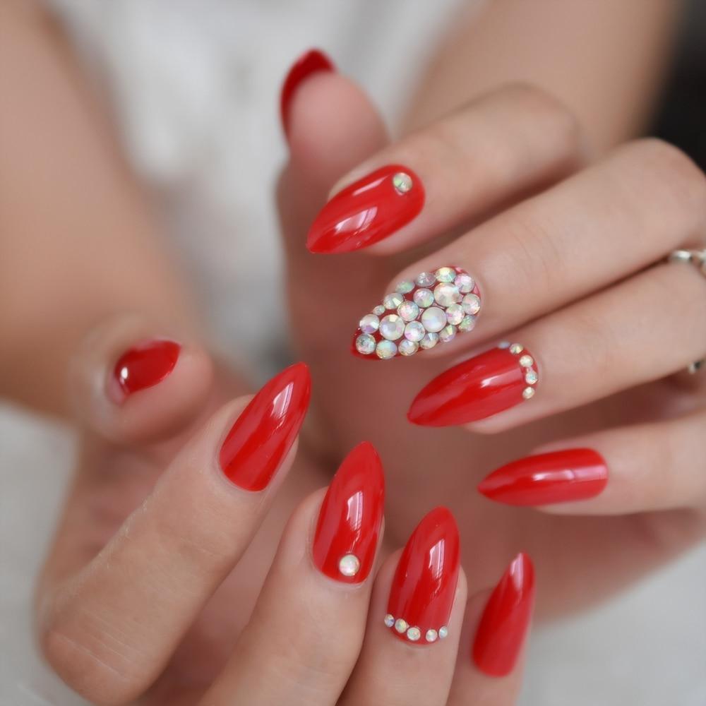 Роскошные поддельные ногти дизайнерские удлиненные Омбре французские украшения предварительно разработанные ногти натуральные шпильки AB Украшение камнями Типсы - Цвет: L5274