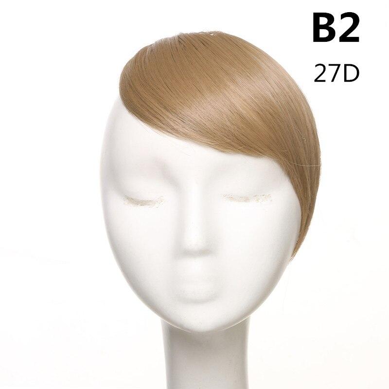 SARLA волосы челка клип в подметание боковая бахрома поддельные накладные взрыва натуральные синтетические волосы кусок волос черный коричневый B2 - Цвет: 27D