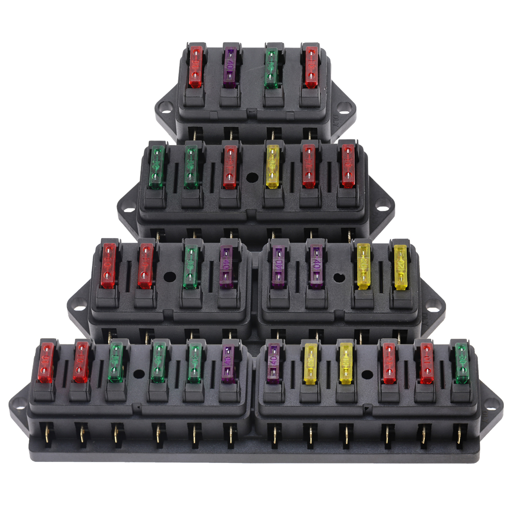 4/6/8/12 Way Car Fuse Box Car Fuse Holder Car Truck Auto Blade Fuse Box With 4/6/8/12 Fuses For 12V 24V ATO Standard Circuit