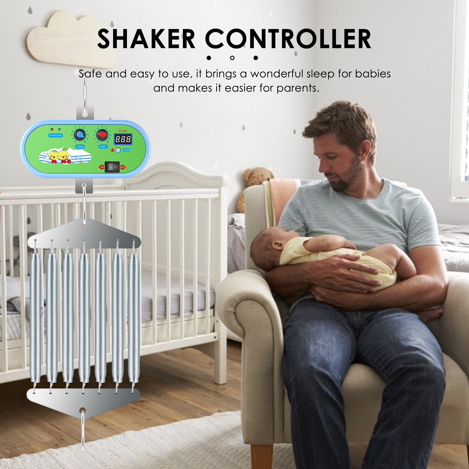 Electronic baby cradle Baby Swing designed for all families With Germany Adaptor EXternal Power Auto Rock Play Vibrating Sleeper