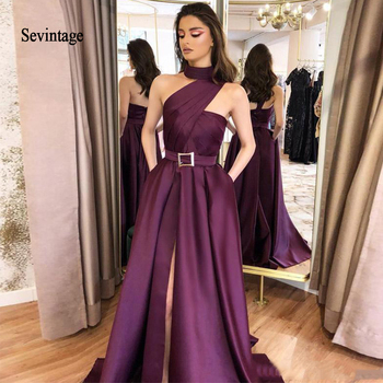 Sevintage Halter Long Evening Party Dresses with Sash Pockets Side Split Prom Dress Satin Formal Party Gowns robe de soiree rolled cuff pockets side split curved dress