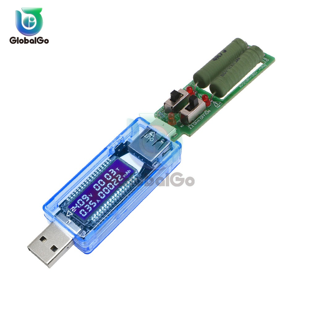 USB Load Resistor With Adjustable Dual Switch Test Module LCD USB Charger Battery Capacity Voltage Current Tester Meter Detector