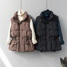 Новинка, зимний пуховый жилет, Женская куртка со стоячим воротником, тонкая теплая парка на завязках, качественная куртка с подкладкой и карманами бежевого цвета