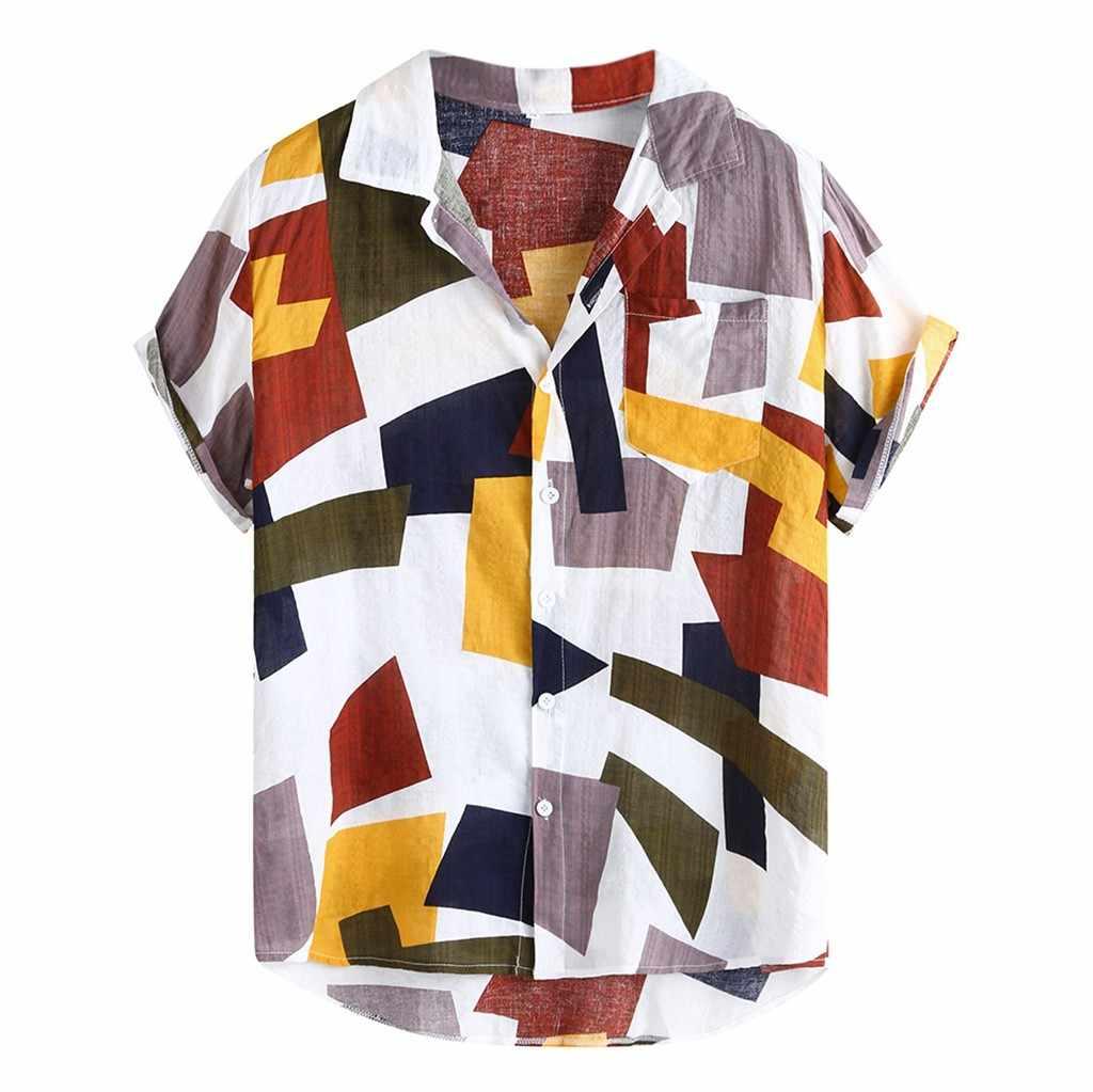 캐주얼 맨즈 셔츠 2020 Summer Beach Shirt 블라우스 기하학 프린트 하와이안 셔츠 루스 캐쥬얼 버튼 셔츠 Camisa Masculina