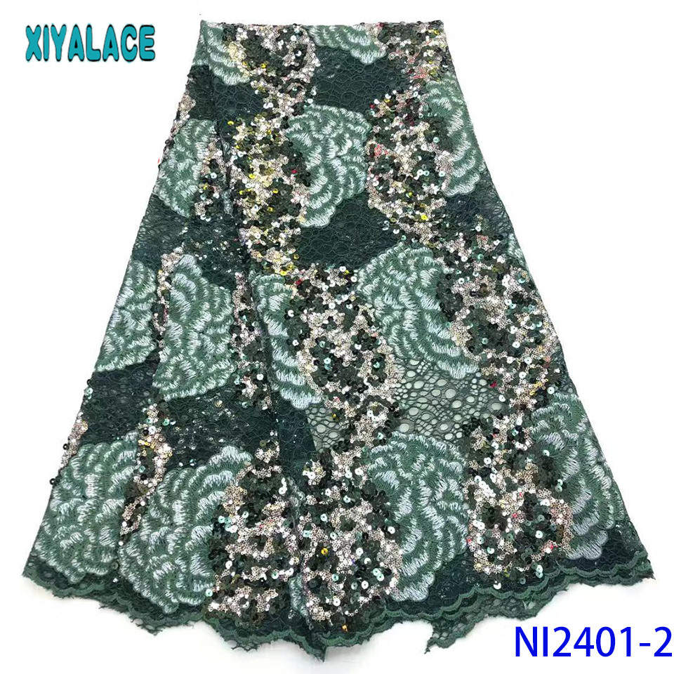 French Lace Fabric 2019 High Quality Lace Organza  Fabric Lace With Sequins For Wedding Party Dresses KSNI2401