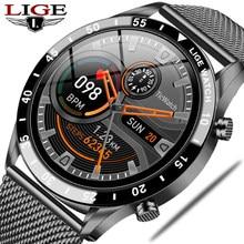 LIGE 2021 Luxury Brand Mens Smart Watch Steel Band Fitness Watch Heart Rate Blood Pressure Activity Tracker Smart Watch For Men