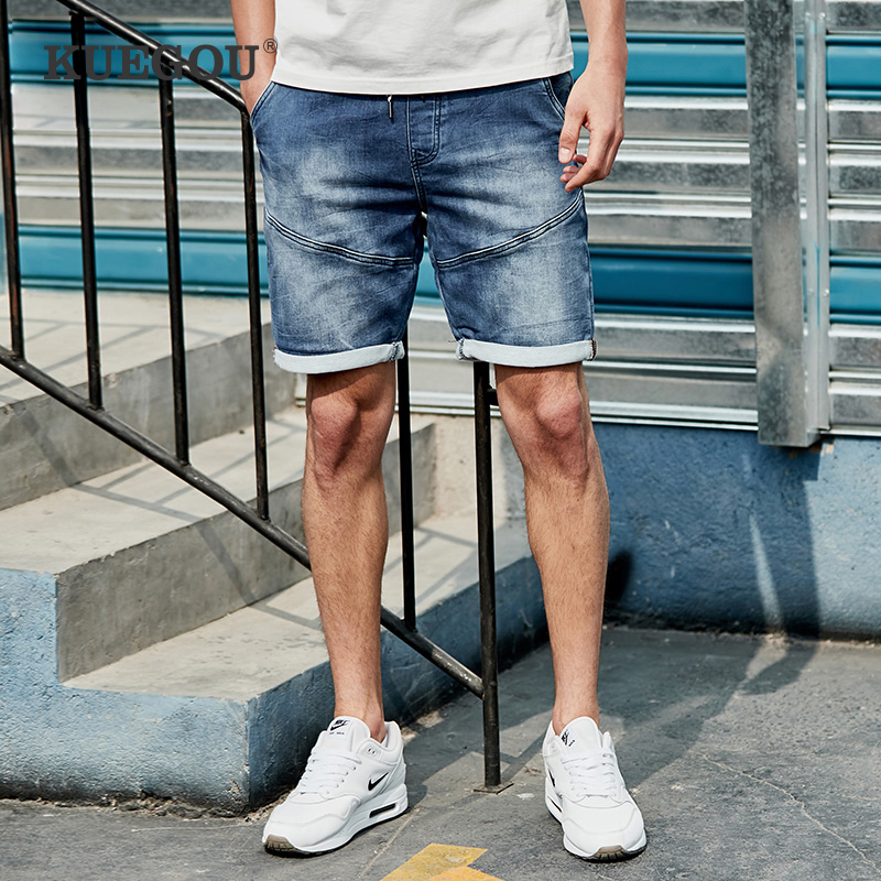 【Kuegou】 Men's Denim Shorts Men's Fashion Cultivate One's Morality Leisure Jeans Summer Five Minutes Of Pants KK-2926