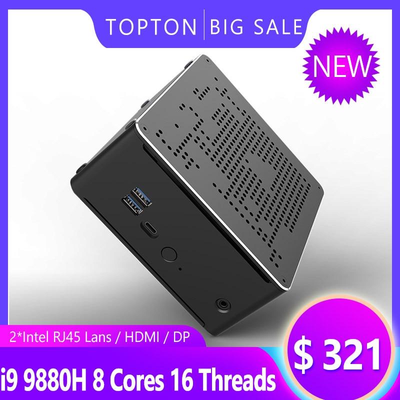 Newest Mini PC Intel I9 9880H I7 9850H I5 9300H 2*DDR4 2*M.2 PCIE+1*2.5''SATA Graphics 630 Gaming Silence PC HDMI DP AC WiFi BT