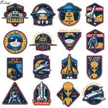 Space Aline Patch Iron On Transfers For Clothing Spacecraft UFO Thermo Stickers Clothes Kids Heat Transfer DIY