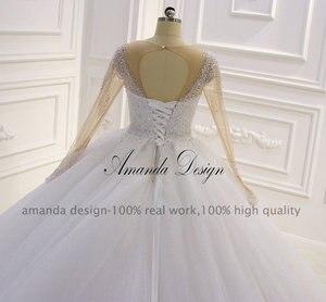 Image 3 - Amanda Design hochzeit Crystal Bling Bling Sparkle Wedding Dress with Sleeves