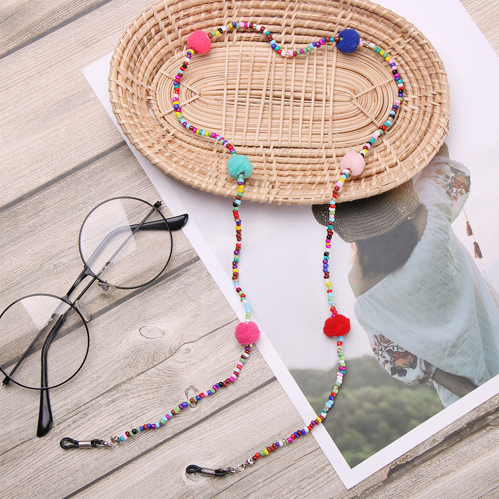1PC Colored Beads Glasses Chain Eyeglass Lanyard Strap Cord Tassels Plush Ball Sunglasses Necklace Fashion Eyewear Accessories
