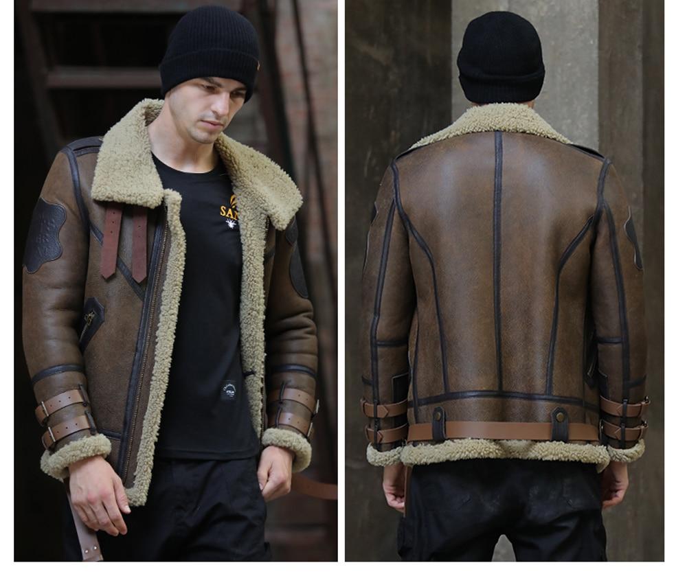 Hf84f1ccc5ebf476084023c023dbf7abcd 2019 Fashion 100% Quality Real Sheepskin Fur Men Coat Genuine Full Pelt Sheep Shearling Male Winter Jacket Brown Men Fur Outwear