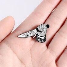 Psycho Dagger-Pin esmaltado con cuchillo personalizado, broches para camisa, solapa, mochila, insignia Punk, joyería oscura, regalo para amigos
