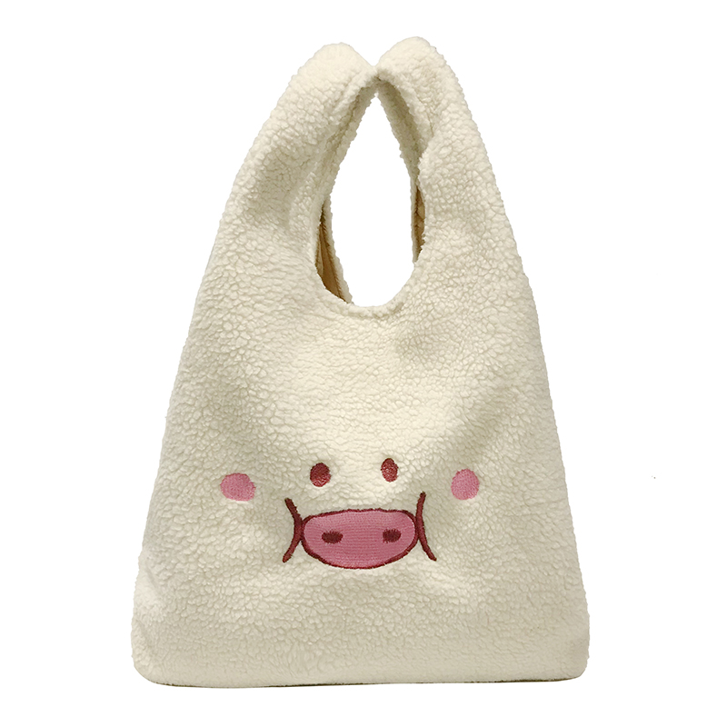 large white Handbag for Women Plush Big Tote Bag cute cartoon Pig  Embroidery  Ladies Hand Bags Clutch White Women shopping Bags