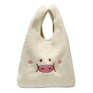 large white Handbag for Women Plush Big Tote Bag cute cartoon Pig Embroidery Ladies Hand Bags Clutch White Women shopping Bags