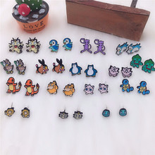 EUPNHY Wholesale 20Pair Cartoon Pokemon Go Squirtle Bulbasaur Animal Stud Earrin