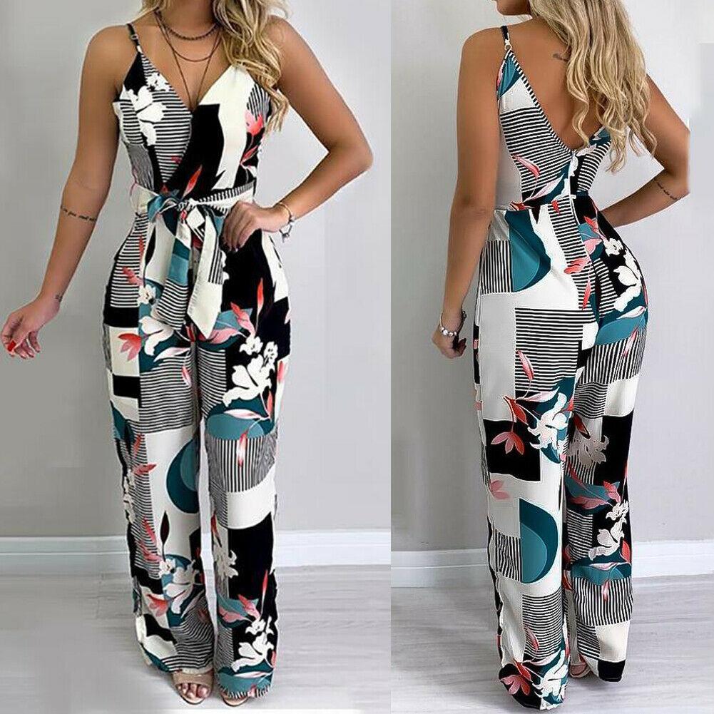 Summer Fashion Ladies Boho Floral Bodysuit Women Casual Sleeveless V-Neck Jumpsuits Female Wide Leg Loose Long Pants Trousers