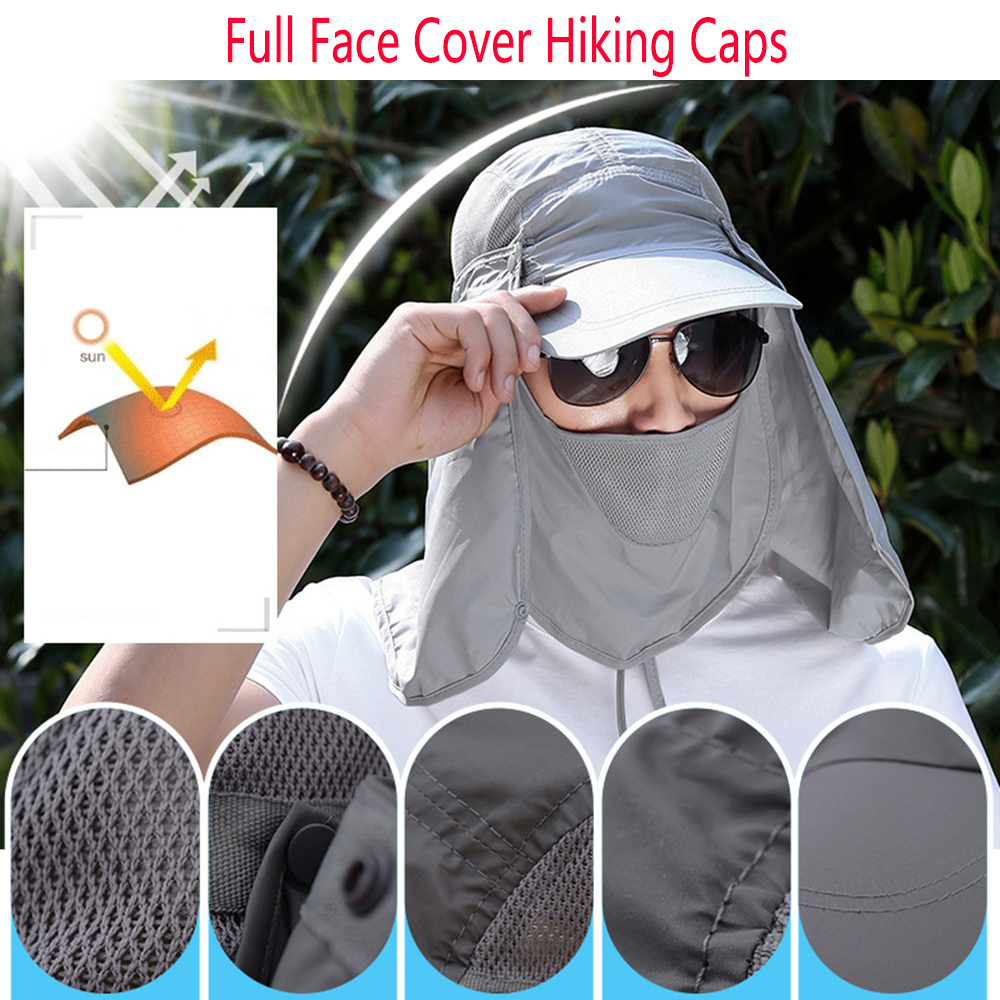 Outdoor Cap Hiking Caps Full Face Cover Folding Sun Hat UV Protection Adjust Hunting Cap Garden Working Hat Work Hat With Face