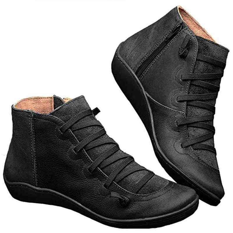 Kış çizmeler kadın yarım çizmeler Lace Up deri ayakkabı çapraz Strappy Vintage kadınlar Punk düz ayakkabı Botas Mujer Invierno 2020