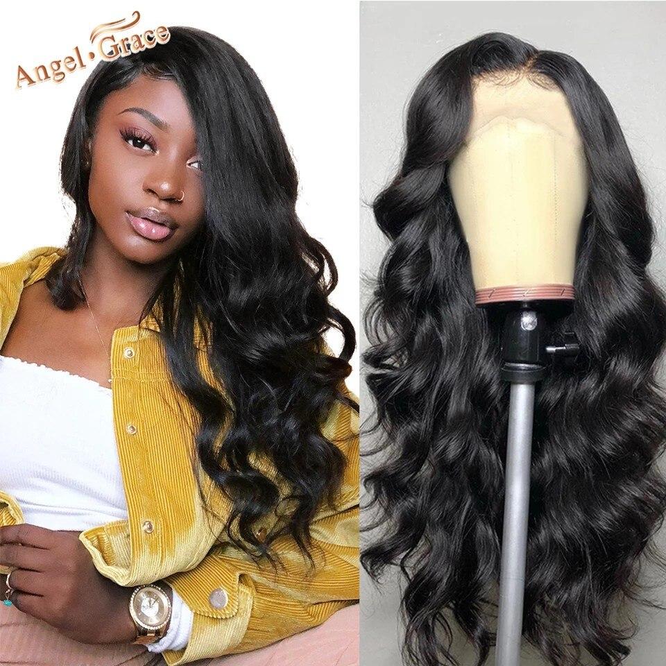 Anjo graça onda do corpo brasileiro peruca de cabelo frontal do laço 13x4/13x6 remy perucas de cabelo humano para a mulher pré arrancado linha fina com cabelo do bebê
