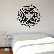 цены Mandala Wall Decal Vinyl Removable Sticker Boho Yoga Floral Lineart Living Room Wall Decal Removable Art Home Decor Mural Z214