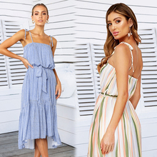 2019 new summer women Long dress pleated hanging bandwidth loose print sleeveless sling elegant Floral