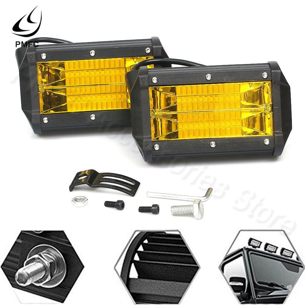 PMFC LED Work Light 2PCS LED Work Light 72w Waterproof Offroad Car Truck Tractor Boat Trailer SUV ATV 12V Spot Flood Light Bar