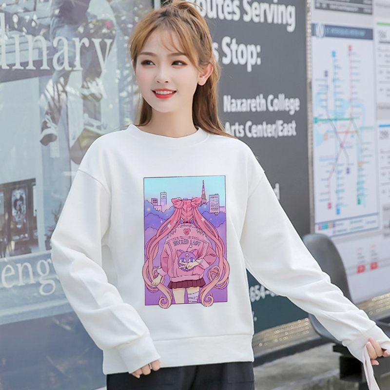 New Women Harajuku Casual Aesthetic Hoodies Kawaii Cartoon Sailor Moon Vintage Sweatshirts Fashion Hip Hop Ullzang Hoody Female