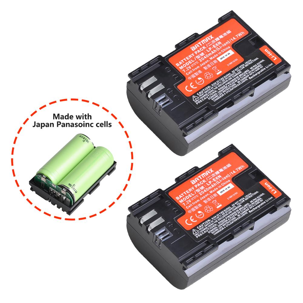 Batmax New LP-E6N LP-E6 LP E6NBattery Made With Japan Panasoinc Cells For Canon EOS 6D 7D 5DS 5DSR 5D Mark II IV 5D 60D 60Da 70D