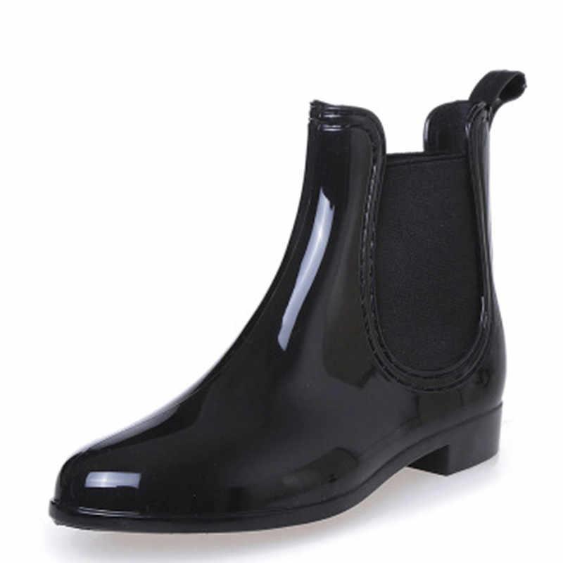Neue Gummi Schuhe Frauen Regen Stiefel Für Mädchen Damen Walking Wasserdichte PVC Frauen Stiefel Winter Frau Ankle Rain Größe 36 -41