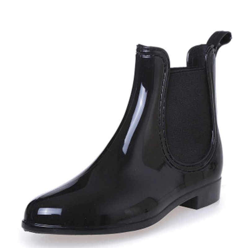 Yeni kauçuk ayakkabı kadın yağmur çizmeleri kızlar bayanlar için yürüyüş su geçirmez PVC kadın botları kış kadın ayak bileği Rainboots boyutu 36-41