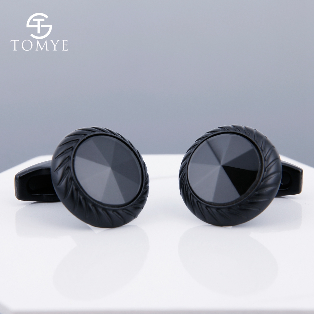 TOMYE Matte Black Round Custom Mens Unique Novelty Cufflinks For Shirt XK19S095